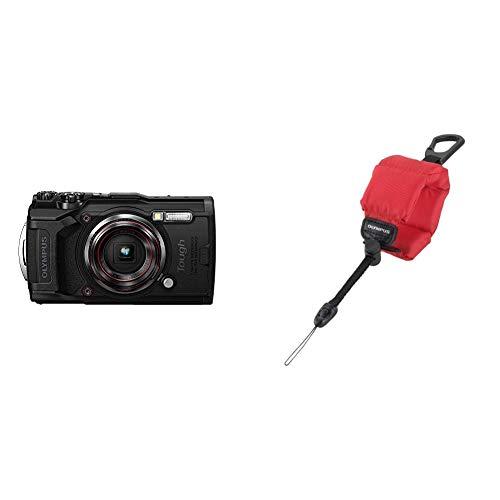 Olympus Tough TG-6 Actionkamera, 12 Megapixel Sensor, Digitale Bildstabilisierung, 4X-Weitwinkel-Zoom, 4k-Video, 120fps, Wi-Fi, schwarz & Olympus CHS-09 schwimmende Kamerahandschlaufe