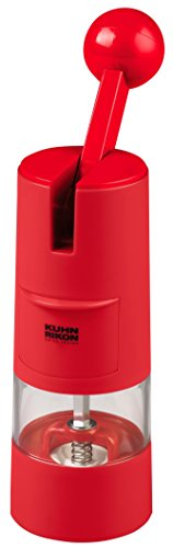Kuhn Rikon 25552 Adjustable Ratchet Grinder with Ceramic Mechanism for Salt, Pepper and Spices, Red, 5.8 x 5.8 x 21.9 cm