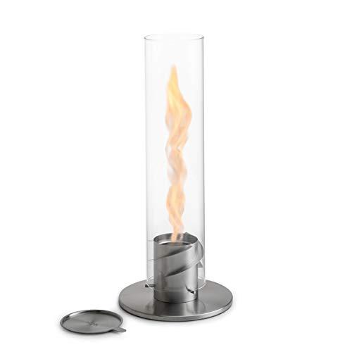 höfats - Spin 120 Silber inklusive Edelstahl Nachfülldose - Bioethanolkamin für Indoor und Outdoor - Tischfeuer, Windlicht und Gartenfackel aus Edelstahl