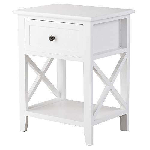 WFHhsxfh Modern Houten nachtkastje nachtkastje met lade en onderste plank Slaapkamer Meubilair Meubels Kleur: wit