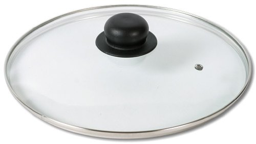 Glazen deksel met kunststof handvat 24 cm, roestvrij stalen ring en ontluchtingsgat, reservedeksel, pannendeksel