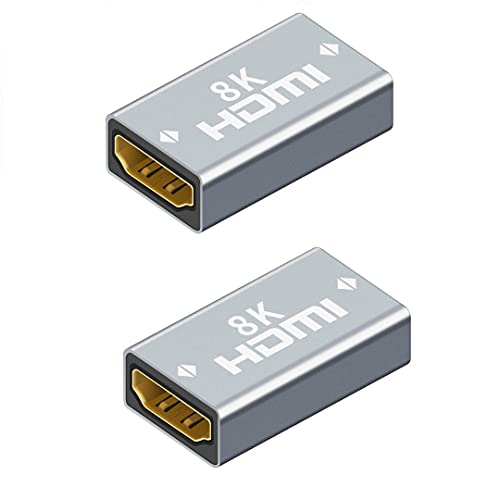 HDMI Coupler Female to Female 2 Pack, 3D 8K HDMI Extension Cable Connector Aluminum Alloy for HDTV,...