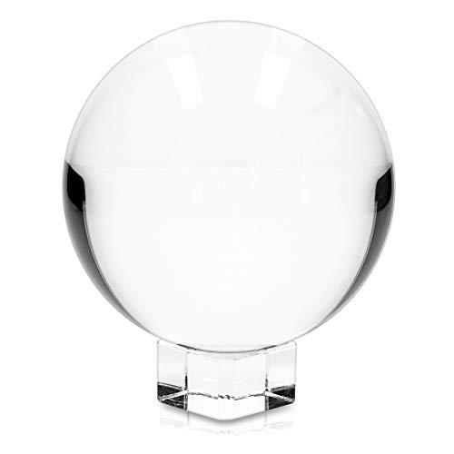 Navaris sfera vetro trasparente per fotografia - sfera cristallo K9 per foto effetto prisma - decorazione palla con base in vetro Ø 100mm
