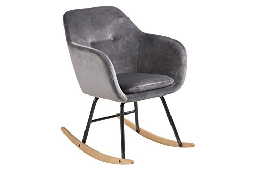 AC Design Furniture Mecedora Wendy Tela, Gris Oscuro, 71 x 57 x 81 cm