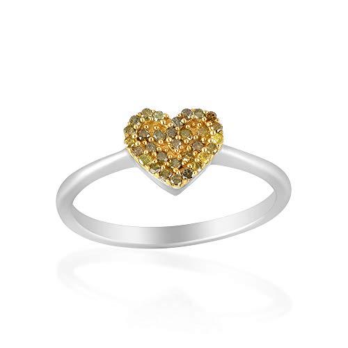 Anillo de plata de ley 925 con diamantes naturales y forma de corazón con pavé   delicado regalo de dieciséis murciélagos   Anillo de pila de corazón   Joyería de amor   Anillo de diamante pavé