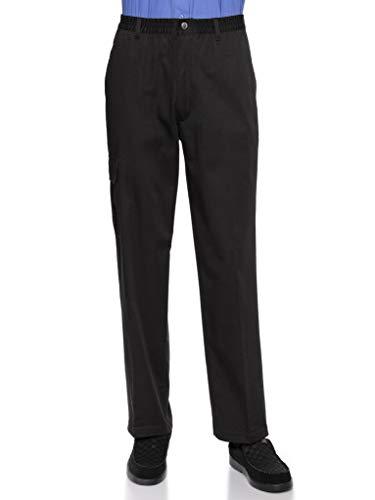 AKA Wrinkle Free Men's Full Elastic Waist Twill Casual Pant Black 2X