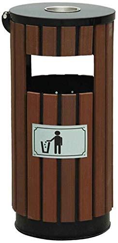 FHKBK Papelera de Madera, Cubo de Basura, Cubo de Basura, Cubo de Basura para jardín Universitario, Cubo de Basura Redondo para Exteriores (Color: marrón), marrón