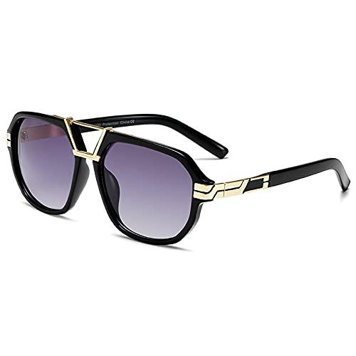 TYOLOMZ Gafas de Sol de Moda para Hombre Gafas de Sol cuadradas Vintage UV400 Sunglass Shades