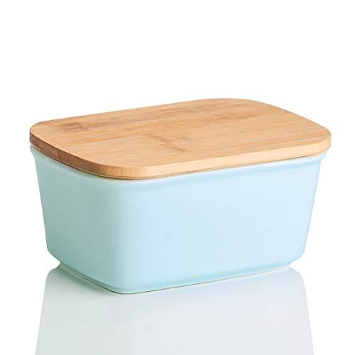 LOVECASA Burriera in Ceramica con Tappo, Freshzone Portaburro Scatola Porta-Burro per Conservazione Burro Formaggio Latticini Alimenti
