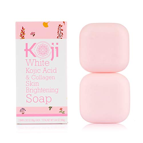 Koji White Kojic Acid & Collagen Skin Brightening Soap ( 2.82 oz / 2 Bars ) – Natural Glowing Skin for Even Complexion – Moisturizes, Reduces the Appearance of Acne Scars & Wrinkles, Dark Or Red Spots