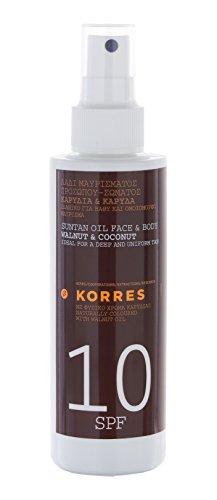 Korres Walnut & Coconut Sonnenöl für Gesicht & Körper SPF 10,1er Pack (1 x 150 ml)