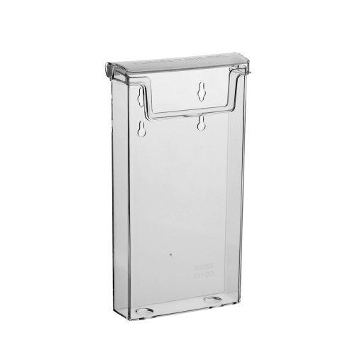 Din Lang Prospektbox / Prospekthalter / Flyerhalter im Hochformat, Wetterfest, für Außen, mit Deckel, aus glasklarem Kunststoff