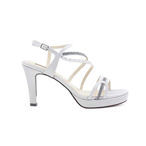 QUEEN HELENA S2607 Sandali Eleganti con Tacco Donna Argento 38 EU