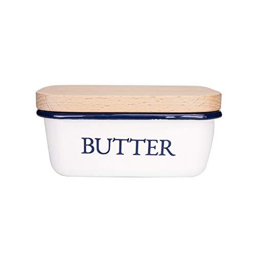Xiaokeai Butterdose Butterdose - Emaille Butter Container mit Versatile Holzdeckel - Moderne Bauernhof-Küchen-Dekor - Küche Geschenke Butterbox für Haushalt und Küche,