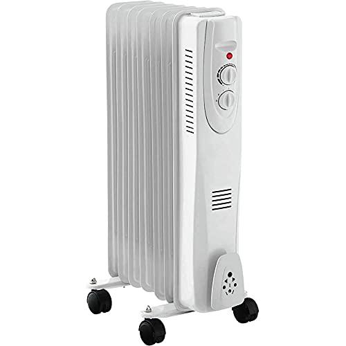 Rack & Pack Calentador Calefactor Aceite Termostato Ajustable 3 Niveles Calentador Aceite Cuarto Habitacion Espacio Calentador Ambiente Hogar Oficina Blanco