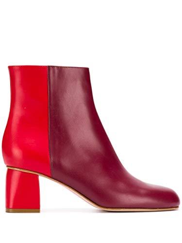 Valentino Luxury Fashion | Red Damen SQ2S0C53CCADJ0 Bordeauxrot Leder Stiefeletten | Herbst Winter 19