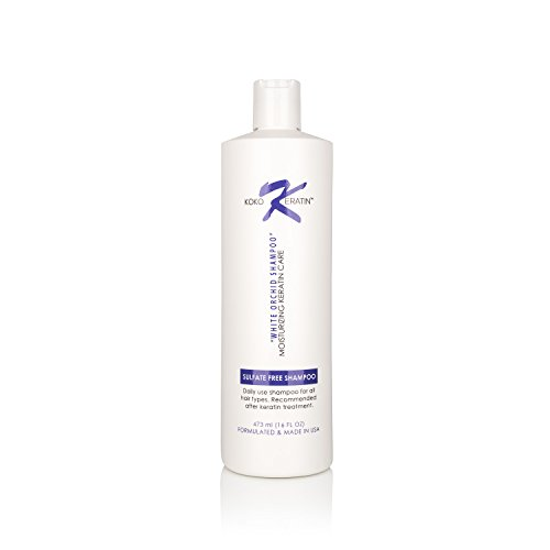 Koko Keratin Shampoo Sulfate Free White Orchid Shampoo After Keratin Treatment Botanical Cleanser (16 Oz)