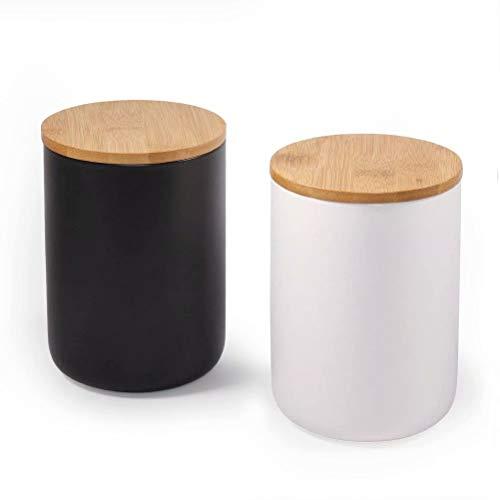 77L Vorratsdose (2er Set), Keramik Vorratsdose mit Luftdichtem Verschluss Bambusdeckel - 720 ML (23.34 FL OZ) Vorratsbehälter aus Keramik zum Servieren von Kaffee, Gewürz und Mehr (Weiß und Schwarz)