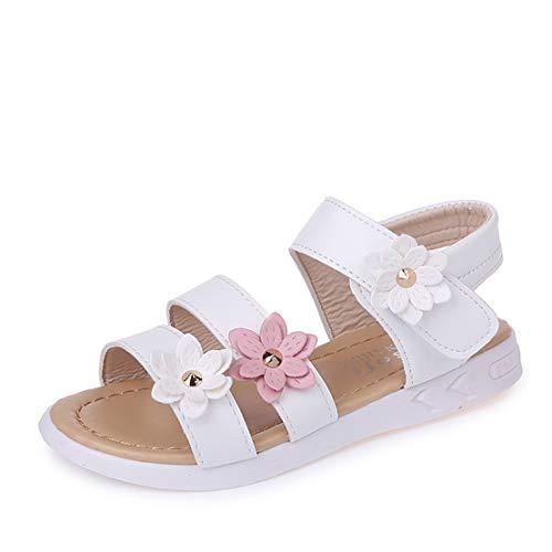 QZBAOSHU Sandalias de Vestir para Niña con Tres Flores Zapatos Cuero 29 EU/Etiqueta 29 1-Blanco