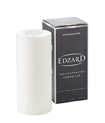 EDZARD Teelichthalter Dauerkerze Cornelius ø 8 cm, Höhe 18 cm, hitzebeständig bis 90