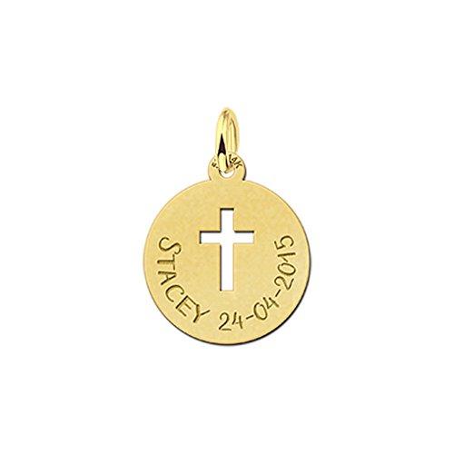 Namesforever Venetiaanse ketting met ronde kettinghanger met uitgestanst kruis van echt goud en een naam en datum naar keuze als gravure