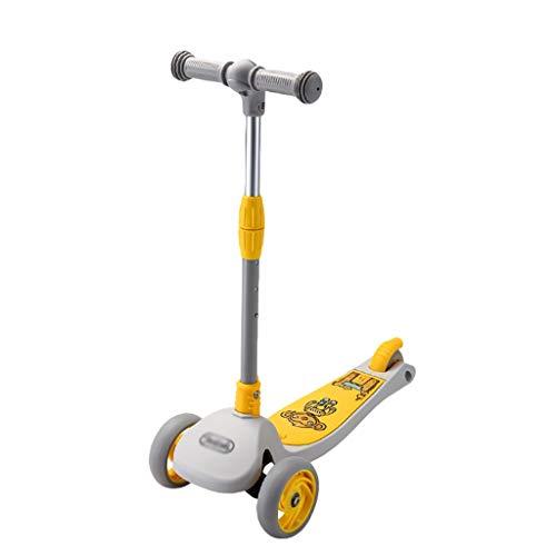 ZZL Stunt Scooters Patinete de 3 ruedas con función de almacenamiento, altura ajustable, para niños de 2 a 5 años de edad, niños y niñas con ruedas de PU intermitentes (color: amarillo)