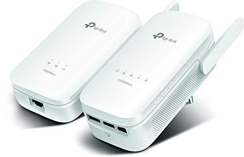 [Vecchio Modello] TP-Link TL-WPA8630 Kit AV1300 Powerline, Wi-Fi Dual Band AC 1350 Mbps Wireless, 3 Porte Gigabit, 2x2 MIMO, HomePlug AV2, Pulsante Wi-Fi Clone, Tasto LED On/Off, Senza Presa Passante