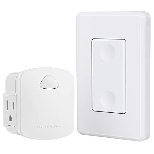 DEWENWILS Wireless Outlet Wall Switch, Remote Control Light Switch and Receiver, 15A/1875W, 100 FT Range, Programmable, Low Profile Side Plug, White