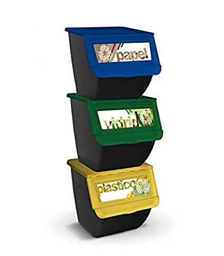 TIENDA EURASIA® Cubos de Basura de Reciclaje - Pack 3 Cubos Apilables de Cocina con Ruedas - Capacidad 36 L - Ideal para Reciclar ( Plástico - Papel - Vidrio ) (Negro)