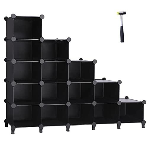 ANWBROAD 15-cubo Zapatero Escalonado Ahorra Espacio Organizador de almacenamiento de Zapatos Armario Modular Plástico Dormitorio Pasillo Entrada 115,5 × 36,6 × 93,3cm Blanco LCS16BX