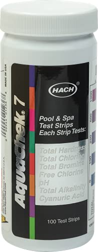 AquaChek 7-Way Pool and Spa Water Test strips - 100 strip pack of swimming pool strips testing pH, Chlorine, Bromine, Hardness and...