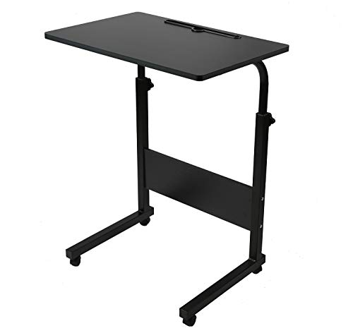 SIDUCAL Tray Table, Adjustable Sofa Side Bed Table Laptop Cart Portable Desk with Wheels Overbed Table Laptop Cart, Black