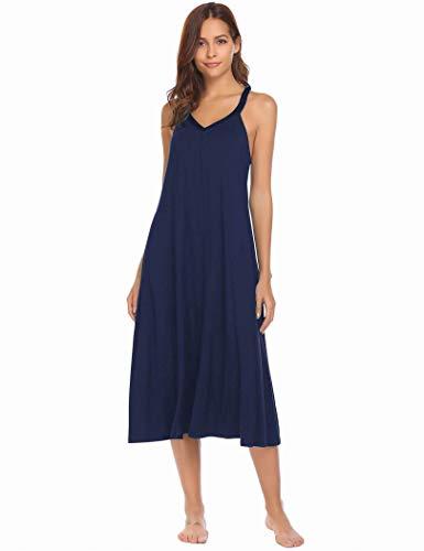 Ekouaer Nightshirts Women's Sleeveless Long Nightgown Full Slip Full Length Racerback Nighties Night Dress Soft Sleepshirt Chemise Summer(8358-Navy, L)