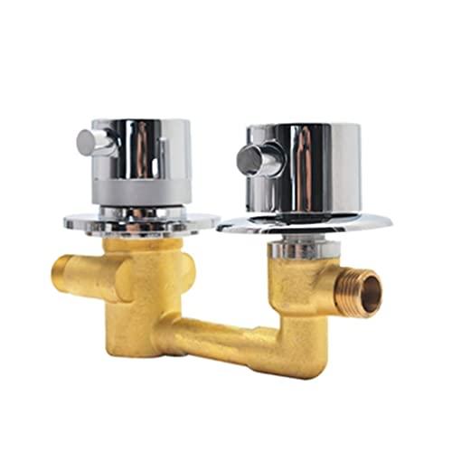 WLN Válvula de latón grifo accesorio rosca latón válvula baño grifo de ducha 2 temperatura constante hilos de un solo paso (distancia central 10cm)