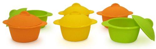 Yoko Design 1134 Baby Cocottes par 6 Silicone Alimentaire Orange/Jaune/Vert 7 cm