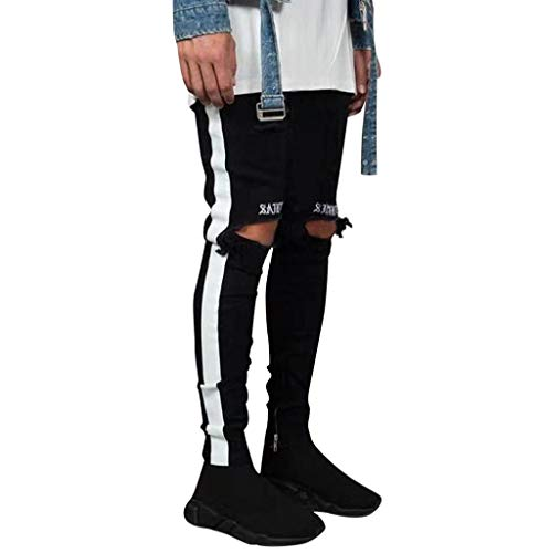 Tomatoa Herren Jeanshosen Slim Fit Stretch Chino Hose Jeans Skinny Destroyed Jeans Denim Freizeithose Slim Fit Stripe Pants Sweatpants Streifen Jogginghose S - 3XL