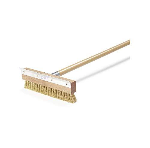 """Pizza Oven Brush & Garden Secrets Wood Handle 30"""" Inch Brass Bristles & Steel Scraper"""