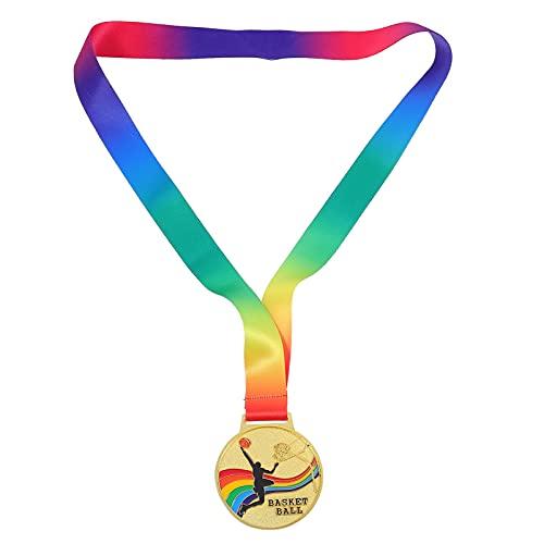 NUOBESTY 2pcs Medallas de Premio Deportivo Baloncesto Creativo Ganador Medallas de Oro Trofeos con Cinta de Cuello Para Competiciones Deportivas Ortografía Abejas Favores de Fiesta