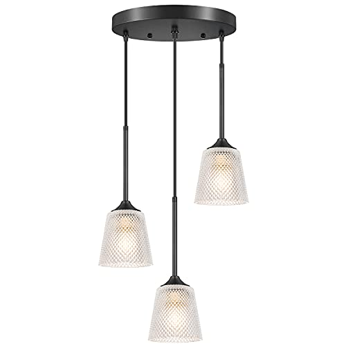 Industrial 3-Light Pendant Lighting, Adjustable Hanging Lights with Glass Shade, Farmhouse Kitchen Island Ceiling Light Fixture for Dining Room Living Room Attic Cafe Bar, Black Metal, E26 Base