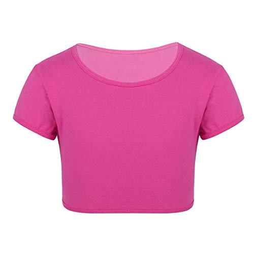 iiniim Kinder Mädchen Tops Bauchfrei Kurzarm T-Shirt Crop Tops Sport Unterhemd Unterwäsche Für Ballett Jazz Yoga Gym Gr.116-164 Rose Rot 116