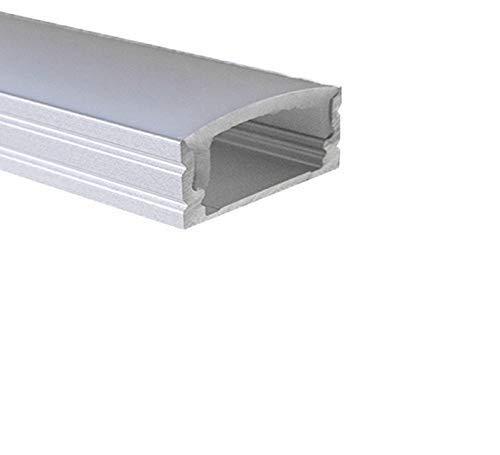 LED Alu Profile Aufputzprofil ELOXIERT für 16mm LED-Streifen (z.B. für Philips Hue Led Strip) mit einklickbarer OPALER Abdeckung 200 cm - SAAR
