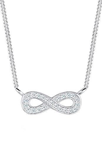 Elli PREMIUM Halskette Damen Infinity Unendlich mit Diamant (0.23 ct.) in 925 Sterling Silber