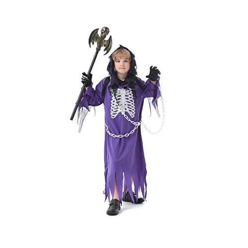 ZANZAN Disfraces Halloween nio Traje de Halloween de nios, Muchacho del Demonio Campus Traje de Cosplay, Bata crneo asustadizo de Lujo con alas (prpura) Disfraces Nino (tamao : Medium)