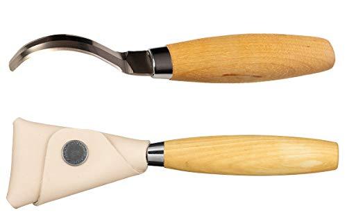 Morakniv Wood Carving Double-Edge Hook Knife 163 wLeather Sheath Birchwood One Size M-13387