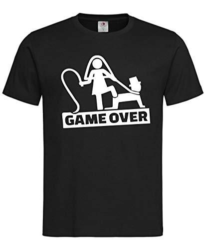 Camiseta Despedidas de Solteros y Solteras. Game Over. Diferentes Modelos, Colores y Tallaje. Despedidas locas. (Negro, M)