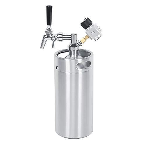 Mini kit de barril de cerveza de acero inoxidable de 3,6 l, dispensador ajustable, medidor de presión constante de 2 clases, barril de cerveza, barril de cerveza de acero inoxidable, grifo ajustable p