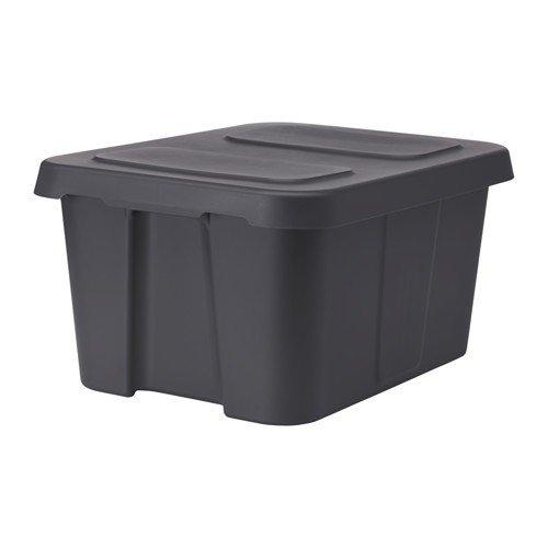 Ikea KLÄMTARE Box mit Deckel; in dunkelgrau; für innen und außen; (58x45x30cm)