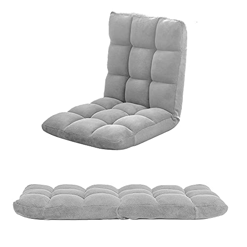 Adjustable 5 Level Folding Chairs, Velvet Lazy Floor Chair with Back Support, Lounge Seat Gaming Reading Chair Sofa for Living Room, Balcony, Home Office (Velvet Grey)