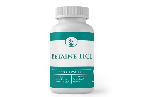 Betaine HCl (100 Capsules) Heart*, Joints*, 100% Pure, No Additives or Fillers