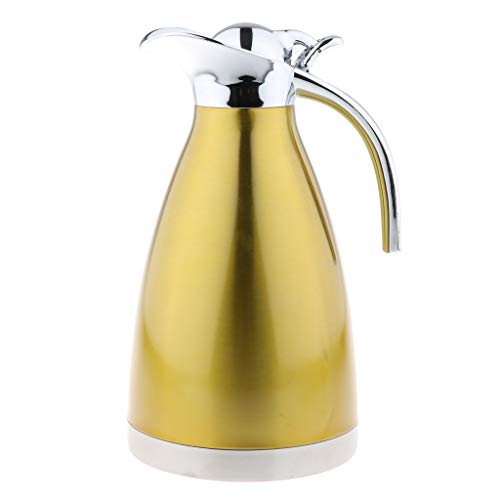 joyMerit 1.5L Stainless Steel Lid Coffee Water Pot Teapot Carafe Thermal Pitcher - Golden